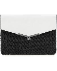 Botkier Valentina Straw & Leather Envelope Clutch - White