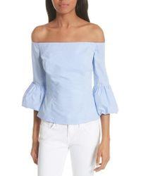 MILLY - Rachel Off The Shoulder Stripe Cotton Blouse - Lyst