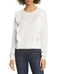 Joie Apollonia Ruffle Trim Pointelle Sweater - White