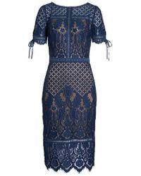 Tadashi Shoji - Tie Sleeve Lace Sheath Dress - Lyst