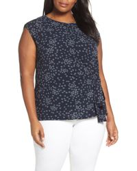 Vince Camuto - Ditsy Showers Tie Front Blouse - Lyst