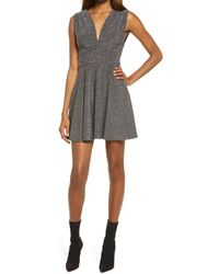 Fraiche By J - Shimmer Deep V-neck Fit & Flare Minidress - Lyst