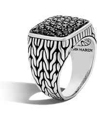 John Hardy Silver And Sapphire Classic Chain Signet Ring - Metallic