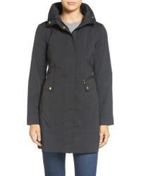 Cole Haan - Back Bow Packable Hooded Raincoat, Black - Lyst