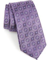 Nordstrom Morton Medallion Silk Tie - Purple