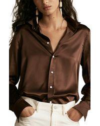 Polo Ralph Lauren Silk Charmeuse Blouse - Brown