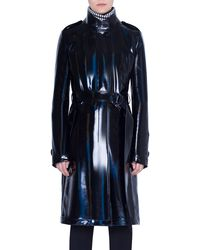 Akris Punto Lacquered Wool Trench Coat - Black
