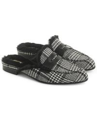 J.Crew - Academy Loafer Mule With Faux Fur Lining - Lyst