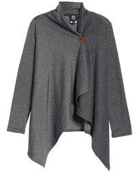 Bobeau - One-button Fleece Wrap Cardigan - Lyst
