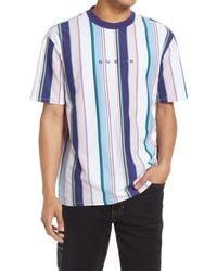 Guess Men's Vertical Stripe Embroidered Logo T-shirt - Blue