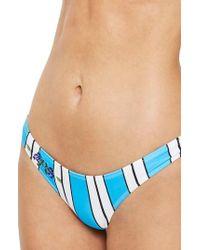 TOPSHOP - Stripe Floral Embroidered High Leg Bikini Bottoms - Lyst
