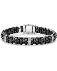 Lagos - Black Caviar Diamond Bracelet - Lyst