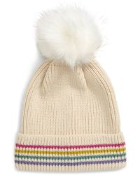 BP. Metallic Stripe Faux Fur Pompom Beanie - Multicolor