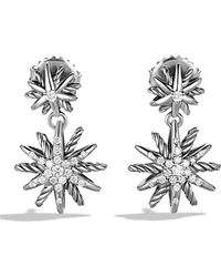 David Yurman Diamond Sterling Silver Double Starburst Earrings - Metallic