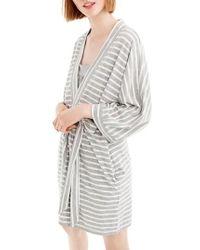 J.Crew | J.crew Stripe Stretch Cotton Robe | Lyst
