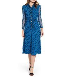 Anne Klein Long Sleeve Midi Dress - Blue