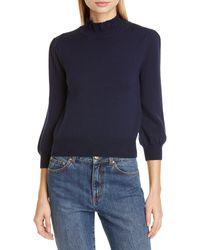 Co. Essentials High Llar Wool Sweater - Blue