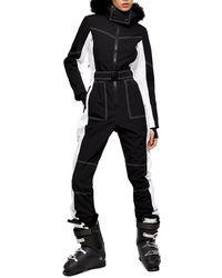 TOPSHOP colour Block Ski Snow Suit By Sno - Black
