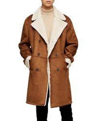 TOPMAN Classic Fit Longline Faux Shearling Coat - Brown