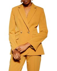 TOPSHOP Double Breasted Jacket - Yellow
