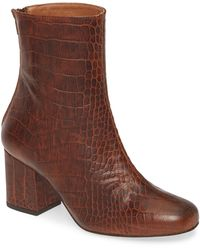 Free People Cecile Croc Embossed Bootie - Brown
