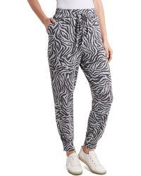 1.STATE 1. State Leopard Print Drawstring Jogger Pants - Gray