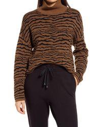 Lou & Grey Cypress Tiger Stripe Turtleneck Sweater - Brown