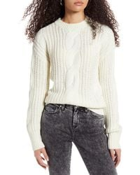 BP. Cable Knit Sweater - White