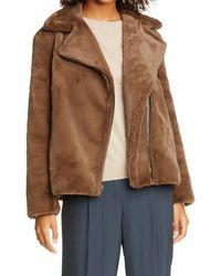 Vince Faux Fur Moto Jacket - Brown