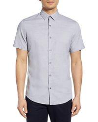 Calibrate Jacquard Short Sleeve Button-up Shirt - White