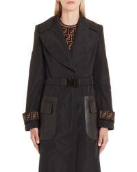 Fendi Leather Pocket Trench Coat - Black