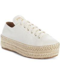 Prada Madras Platform Sneakers - White