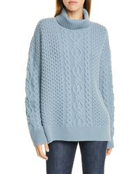 Nordstrom Oversize Cable Knit Cashmere Turtleneck Sweater - Blue