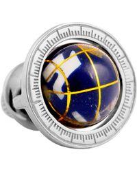 Tateossian Globe Cage Lapel Pin - Blue
