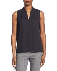 T Tahari - 'edie' Pleat V-neck Blouse - Lyst