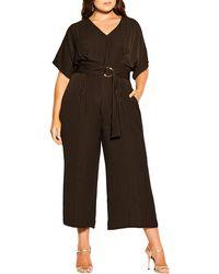 City Chic Romance Me Stripe Crop Jumpsuit - Black