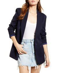 Endless Rose Tailored Single Button Blazer - Blue