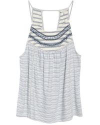 Lucky Brand - Stripe Mix Embroidered Tank - Lyst