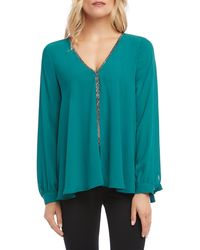 Karen Kane Sparkle Long Sleeve Top - Green
