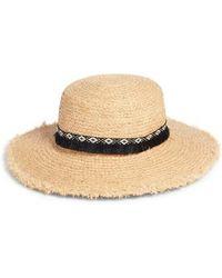 Caslon - Caslon Fringe Trim Straw Boater Hat - Lyst