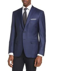 Canali Classic Fit Check Wool Sport Coat - Blue