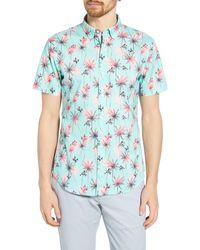 Bonobos Riviera Slim Fit Palm Print Shirt - Blue