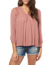 O'neill Sportswear Mara Lace Yoke Top - Pink