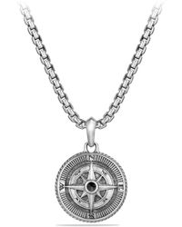 David Yurman Maritime Compass Amulet With Black Diamond - Metallic