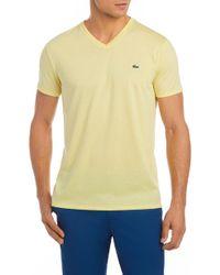 Lacoste - V-neck Cotton T-shirt - Lyst