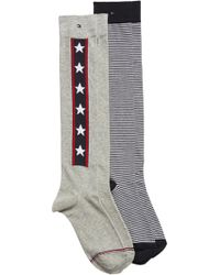 Tommy Hilfiger - 2-pack Knee High Socks, Grey - Lyst