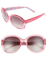 Lilly Pulitzer - Lilly Pulitzer Magnolia 57mm Polarized Round Sunglasses - Lyst