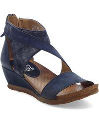Miz Mooz Molly Wedge Sandal - Blue