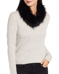 La Fiorentina Genuine Fox Fur Collar - Black