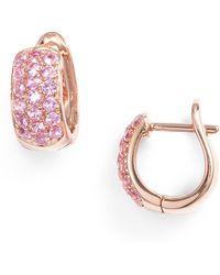 Dana Rebecca Wide Gem Huggie Earrings - Pink